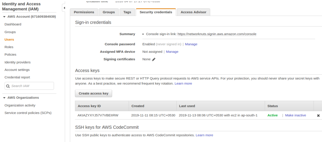 creating access keys for aws iam user account