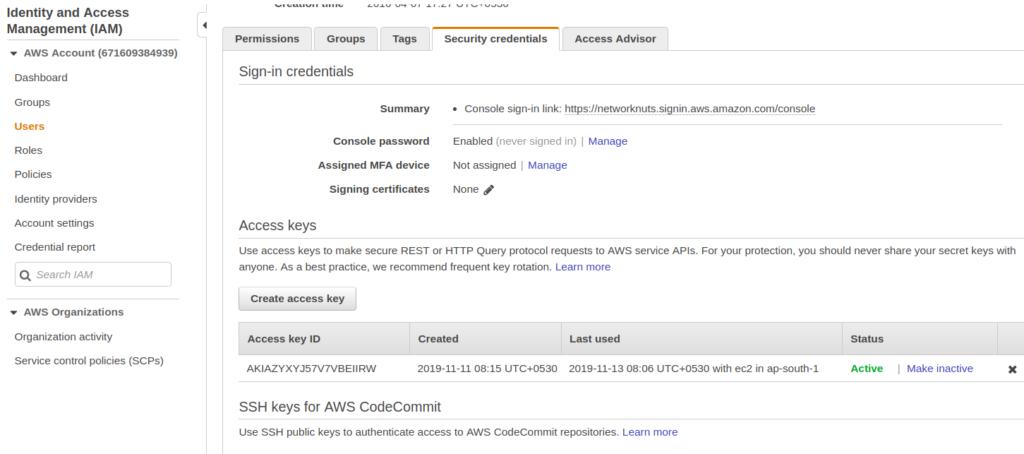 creating access keys for aws iam user account