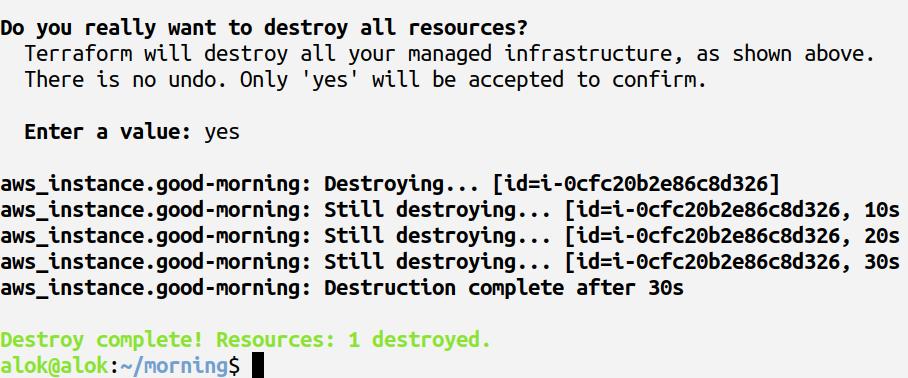 terraform destroy command