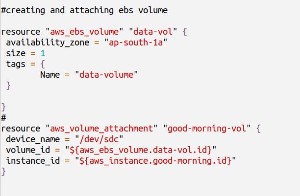 attaching ebs volume to ec2 instance using terraform
