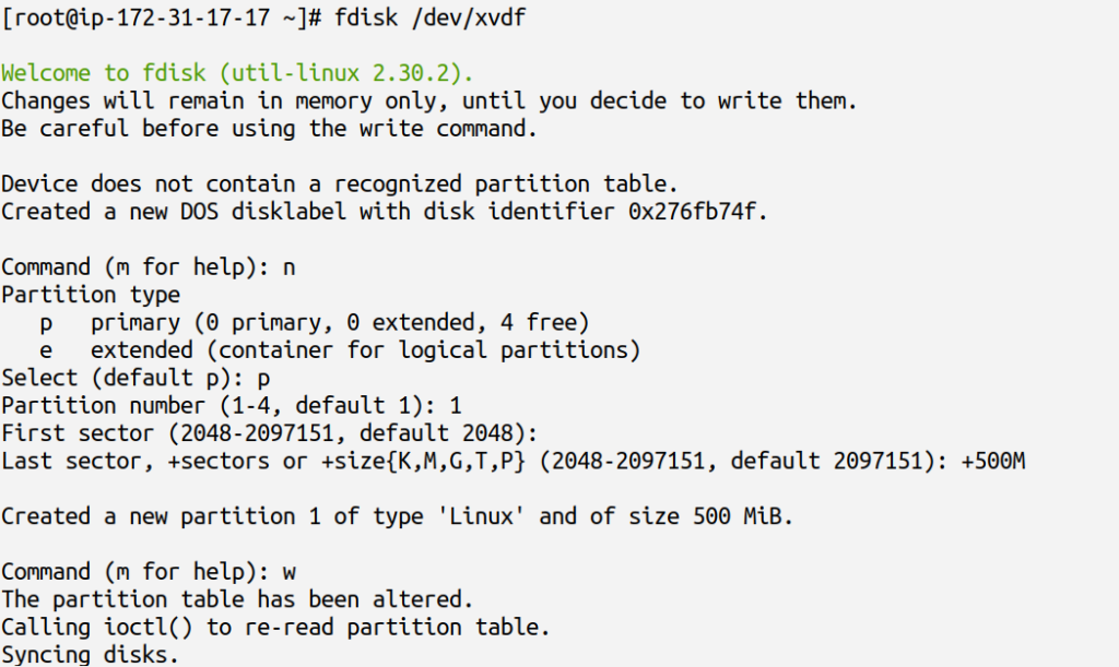 using fdisk to create partition