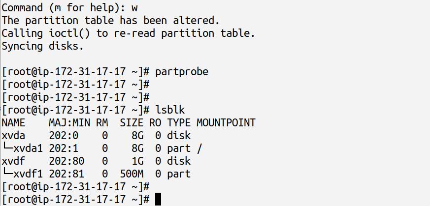 partprobe and lsblk commands