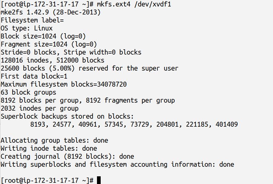 creating ext4 filesystem using mkfs.ext4 command