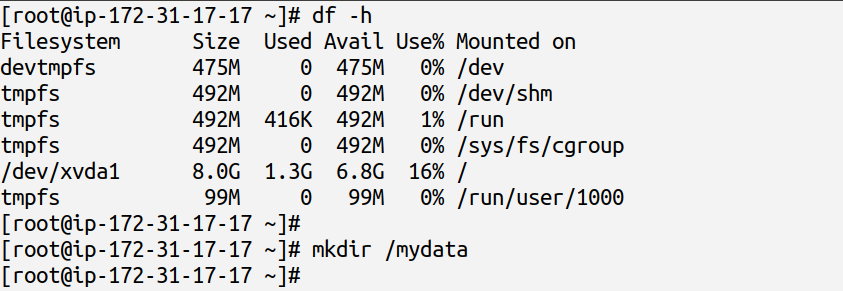 using df -h command