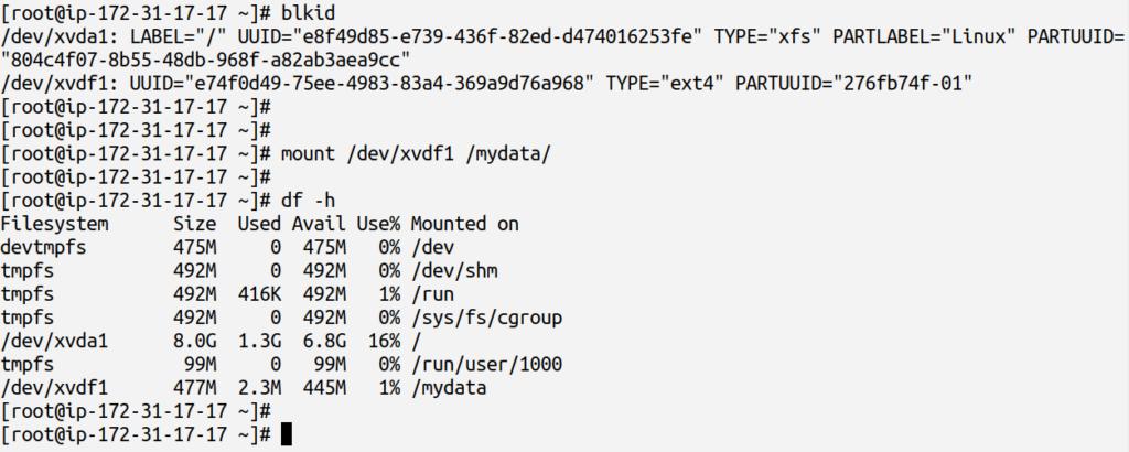 mounting filesystem using mount command
