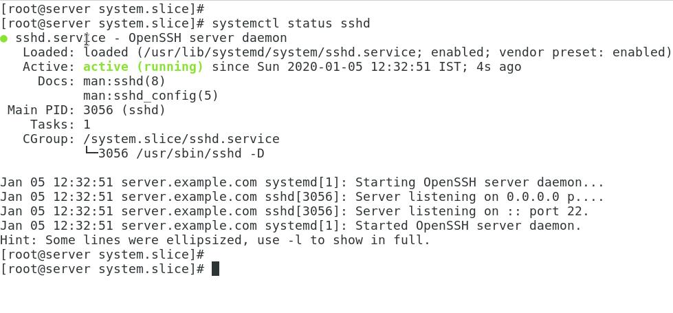 systemctl status sshd